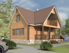 Дом из бруса 8.0x9.0 «Добрыня-2»