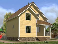 Каркасный дом 6.0x7.0 «Лотос-1К»